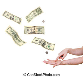 hand pointing in palm demanding money isolated on white