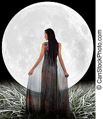 Fairy in front of a Moon