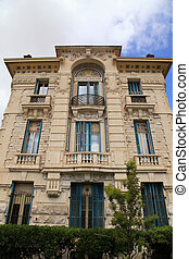 Belle Epoque ornate stone building, Nice,Cote d'Azur,...
