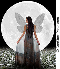 Fairy in front of a Moon.