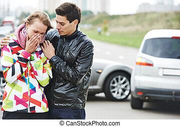 car crash collision - Car collision. Driver man and upset...