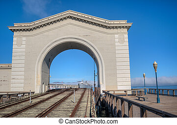 Pier 39 archway - Pier 39, San Francisco, USA archway with...