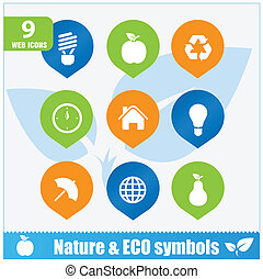 Nature ecology symbols set isolated