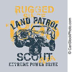 off road car 4x4 land patrol - off road car vector...