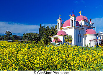 Orthodox Church and Mustard Field near Galilee Sea, Israel