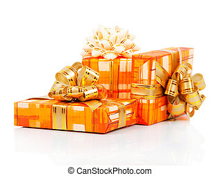 Colorful gift boxes with gold ribbon
