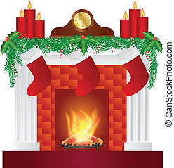 Fireplace with Christmas Decoration Illustration - Fireplace...