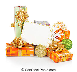 Christmas card with gift boxes, gold and green balls,...