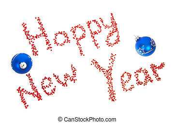 Happy New Year with blue balls isolated on white
