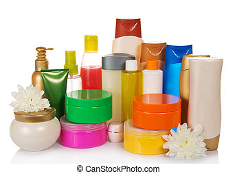 Bottles of health and beauty products care - Collection of...