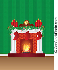 Fireplace with Christmas Decoration Wallpaper Illustration -...