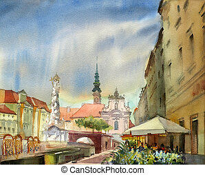 Austrian city Sankt Polten  painted by watercolor.
