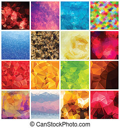 Set of multicolored geometric polygonal backgrounds. EPS 8