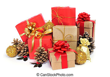 christmas gifts - some christmas gifts wrapped with wrapping...