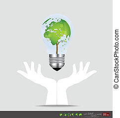 Hand holding an electric light bulb with tree shaped world...
