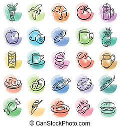 splotches with food symbols - colored painted splotches with...
