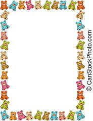 border out of teddies - background with a border out of...
