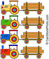 tractors with trailers - four colorful tractors with...