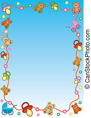 frame with toys border - blue gradient background with a...