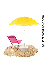 Tranquil beach with pink chair and yellow parasol