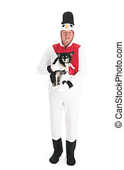 Human snowman with dog - Human snowman with little Chihuahua...