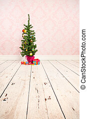 Vintage wall and wooden floor with Christmas tree - Vintage...