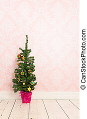 Vintage room with Christmas tree - Vintage room with...