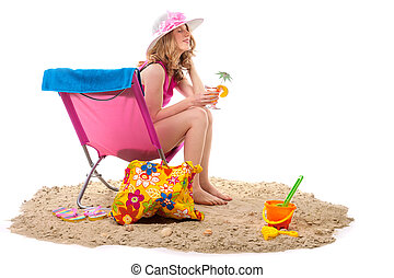 woman in chair at the beach - Beach with pink chair and...