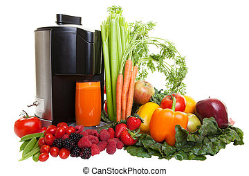 Juicing - A Juicer surrounded by healthy fruits and...