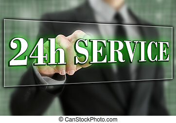24 hour service - 24h service icon on virtual screen.