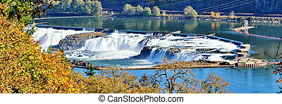 Willamette Falls Oregon - Panoramic view of Willamette Falls