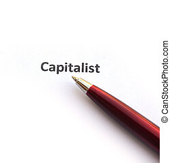 Capitalist with pen
