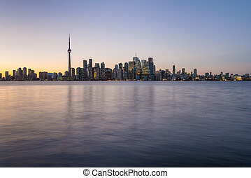 Downtown Toronto with strong back light - Backlit scene of...