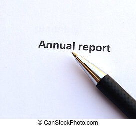 Annual report with pen