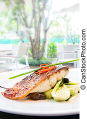 grilled barramundi steak - plam glazed grilled barramundi...
