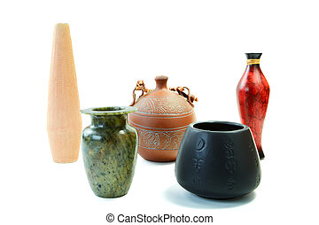 Set from jugs and vases isolated on a white background