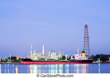Oil refinery plant - landscape of Oil refinery plant along...