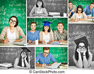 Clever students - Collage of smart students on background of...