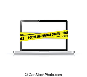 police line do not cross laptop cyber crime concept...