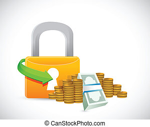 money protection lock symbol illustration design over white