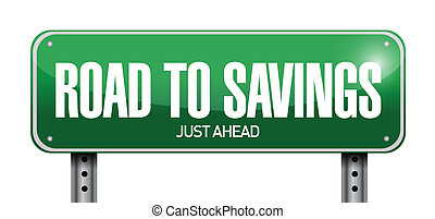 road to savings sign illustration design