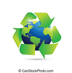 world map globe recycle symbol illustration design over...