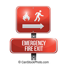 emergency fire exit red road sign illustration design over...