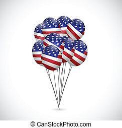 us flag balloons illustration