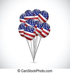 us flag balloons illustration design set over a white...