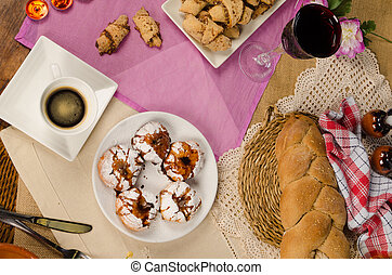 Hanukkah food - Full frame take of assorted homemade...