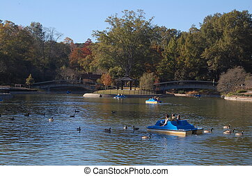 Pullen Park in Raleigh, NC - Families enjoy a beautiful...