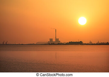 Chemical plant with Industry boiler at sunset