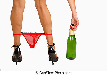 Knickers down and a bottle of champagne, sexy party mood