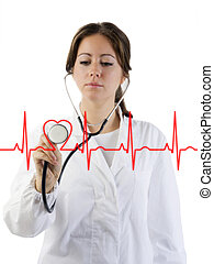 cardiogram - nice doctor with stethoscope auscultating the...
